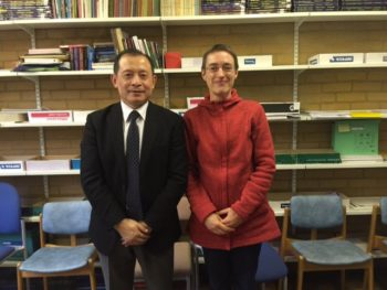 Professor Zhu, Director of the Centre for Children's Literature, Ocean University, China, with Professor Karin Lesnik-Oberstein, December 2016